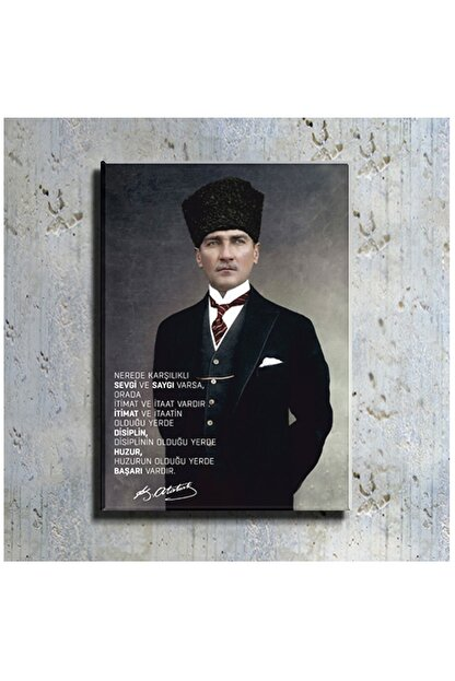 mağazacım Atatürk Takım Elbiseli Portre (60x80 Cm) Kanvas Tablo Tbl1194