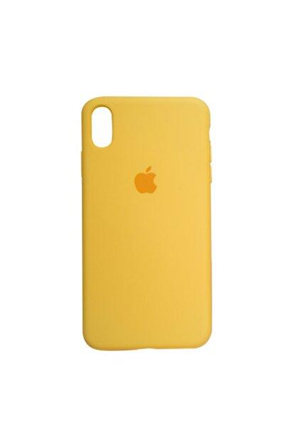 Mopal Apple Iphone Xs Max Logolu Sarı Iç Yüzeyi Kadife Altı Kapalı 360° Tam Koruma Silikon Lansman Kılıf