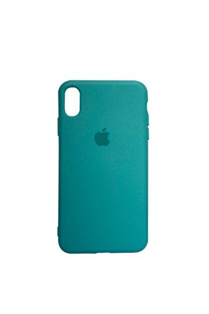 Mopal Apple Iphone Xs Max Logolu Açık Yeşil Içi Kadife Altı Kapalı 360° Tam Koruma Silikon Lansman Kılıf