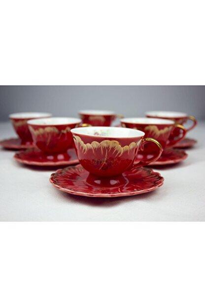ZucciHome Nostaljik 6'lı Fincan Seti - Kırmızı