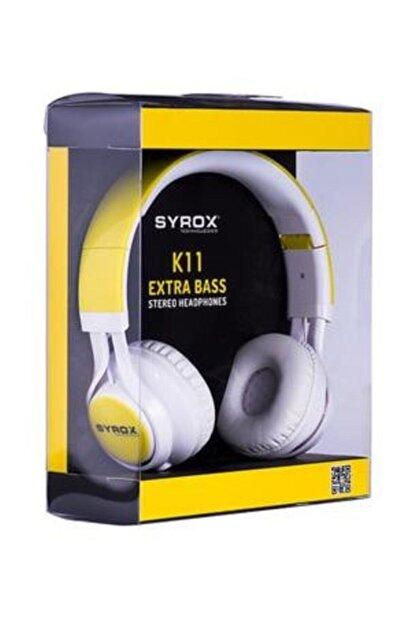 Syrox J-50 K11 Sarı K11 Sarı Kulaküstü Mikrofonlu Aux Kablolu Kulaklık