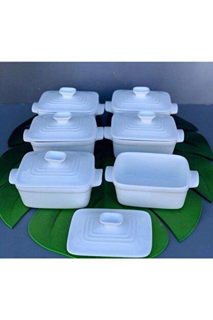 AROW Kapaklı Beyaz Kahvaltılık 6'lı Set Kare Mini Boy