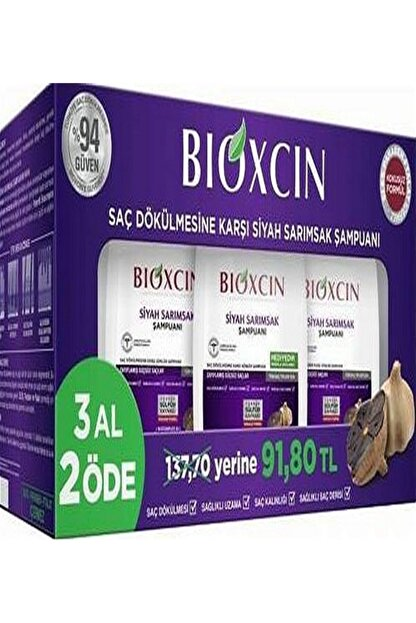 Bioxcin Siyah Sarımsak Şampuan 300mlx3