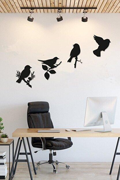 RetroLazer Dekoratif Modern Dörtlü Kuş Duvar Süsüyeni Duvar Dekoru