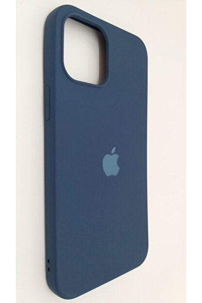 Pirok Store Iphone 12 Promax 6.7 Lacivert Lansman Içi Kadife Logolu Silikon Kılıf