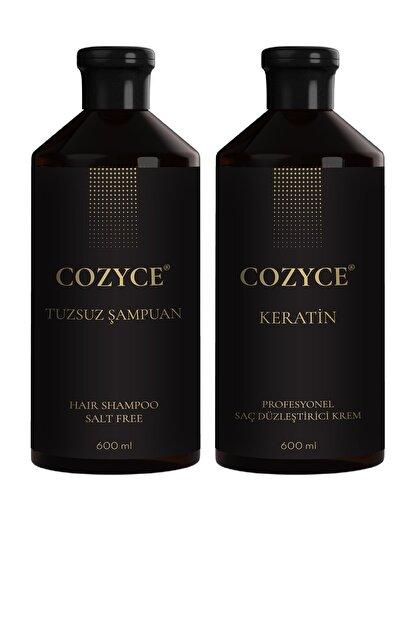 Cozyce Tuzsuz Şampuan 600 Ml + Brezilya Fönü Keratini 600 Ml Saç Düzleştirici Keratin Seti