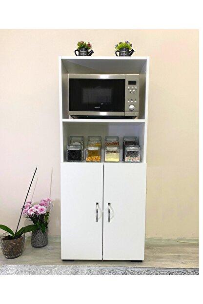 IRMAK MOBİLYA Beyaz Bölmeli Mikrodalga Mini Fırın Mutfak Amaçlı Dolap 2 Kapaklı
