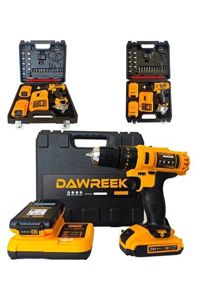 Dawreek 24v Setli Çift Bataryalı Metal Şanzımanlı Darbeli Şarjlı Matkap Cordless Impact Drill
