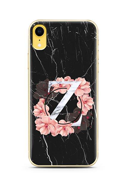 Spoyi Iphone Xr Z Harfi Siyah Mermer Çiçekli Harf Tasarım Süper Şeffaf Silikon Telefon Kılıfı