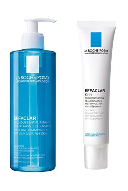 La Roche Posay Effaclar Jel 400 ml +  K Krem 40 ml | Siyah Nokta & Akne Bakım Set