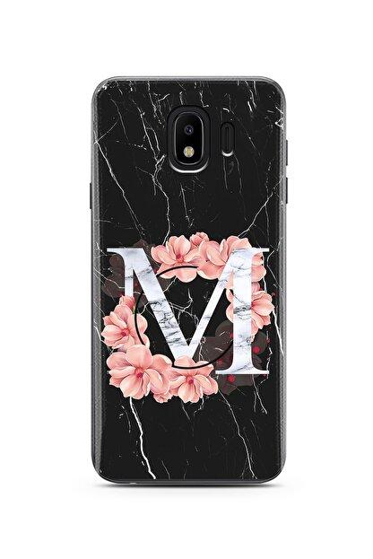 Spoyi Mermer Çiçekli Harf Tasarım Süper Şeffaf Silikon Telefon Kılıfı Samsung J4 (2018) M-harfi