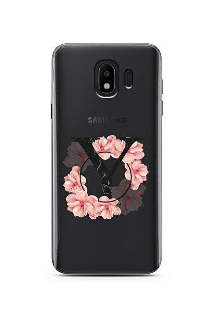 Spoyi Pembe Çiçekli Harf Tasarım Süper Şeffaf Silikon Telefon Kılıfı Samsung J4 Y-harfi