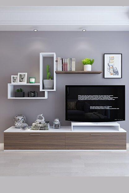 Koordinat Mobilya Roma Tv Ünitesi Beyaz Ceviz