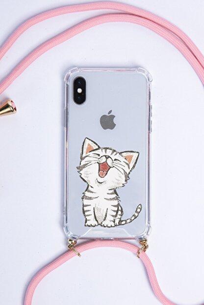 POFHİ Huawei P30 Lite Sevimli Kedi Pembe Askılı Telefon Kılıfı
