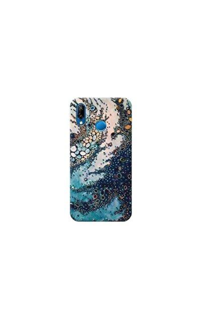 Kılıf City Huawei P20 Lite Mavi Mermer Tasarımlı Telefon Kılıfı