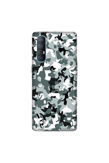 cupcase Oppo Reno 3 Pro Kamuflaj Esnek Silikon Telefon Kabı Kapak