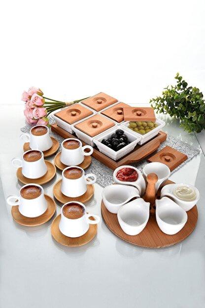 EvimSepette Evim Sepette Ahşaplı Lüks Sunum Seti Kahvaltılık+Çerezlik+Kahve Fincanı