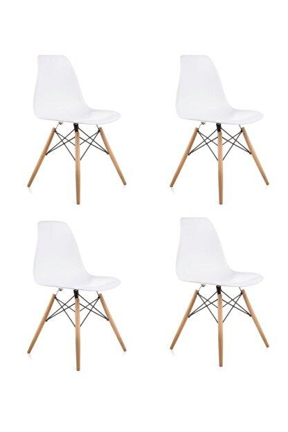 Dorcia Home Beyaz Eames Sandalye - 4 Adet - Cafe Balkon Mutfak Sandalyesi