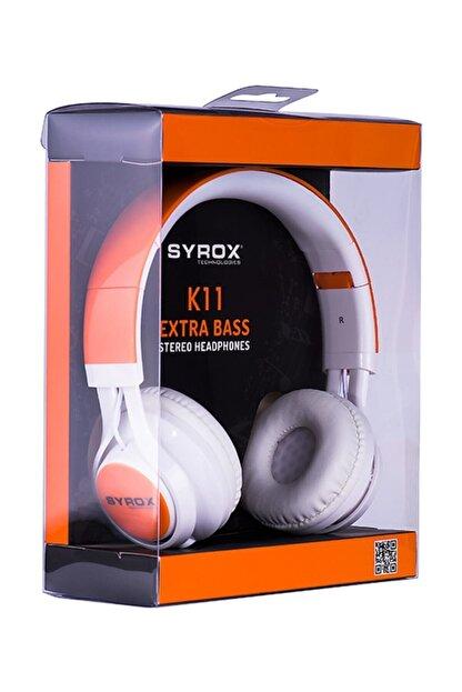 Syrox J-50 K11 Turuncu Kulaküstü Mikrofonlu Aux Kablolu Kulaklık