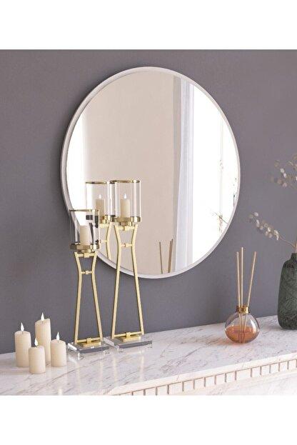 MONEayna Dekoratif Yuvarlak Ayna Beyaz Antre Hol Koridor Duvar Salon Mutfak Banyo Wc Ofis Aynası