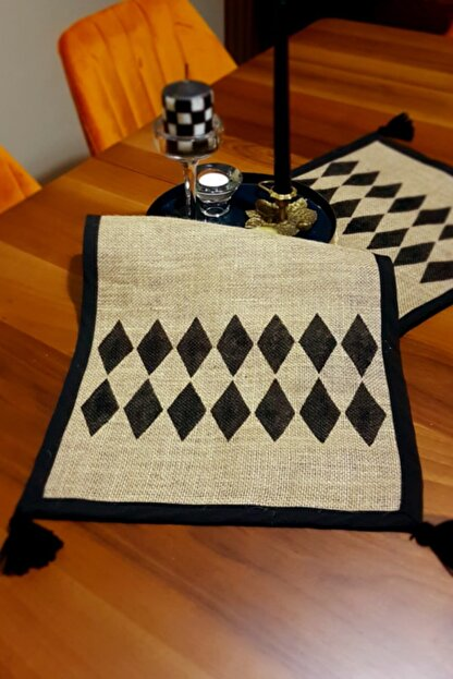 DEKOPOOD Bg Home Couture Handmade Baklava Desenli Püskül Detaylı Jüt Runner 40x130cm