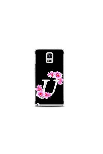 Kılıf Madeni Samsung Galaxy Note 4 Ü Harfli Pembe Çicekli Tasarimli Telefon Kilifi Y-pembecü