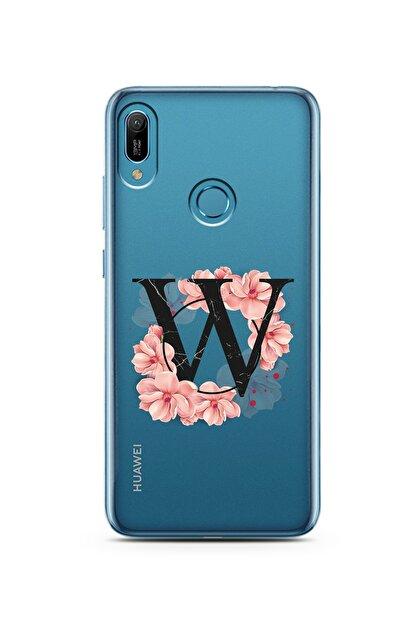 Spoyi Pembe Çiçekli Harf Tasarım Süper Şeffaf Silikon Telefon Kılıfı Huawei P30 W-harfi
