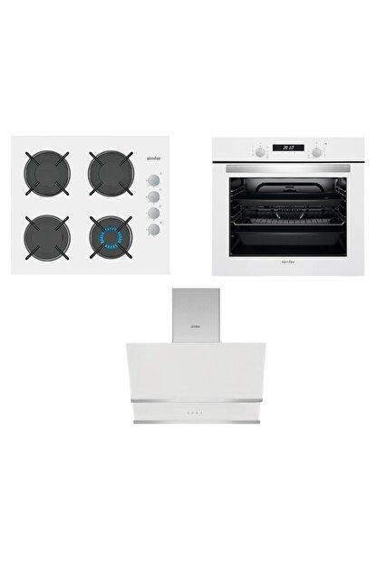 Simfer Akasya Beyaz Dijital Ankastre Cam Set (3507 - 8668 -7330)