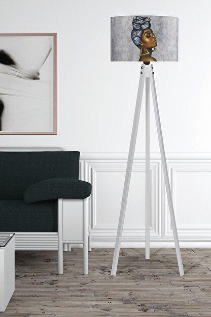 MyLightConcept Dekoratif Özel Tasarım Dijital Baskılı Yeni Trend Kumaş Lambader Beyaz Ayak/mlc060