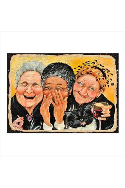 Tablomega Ahşap Tablo Mutlu Yaşlı Kadınlar 25cm X 35cm