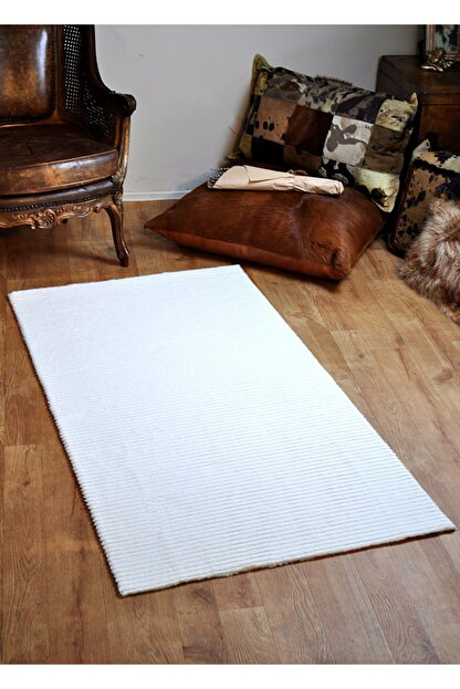 Tappeto Beyaz Çizgi Desenli Post Peluş Halı