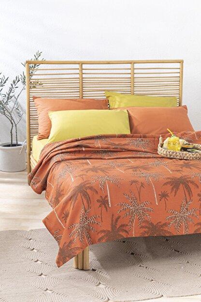 English Home Glitter Palm Baskılı Çift Kişilik Pike 200x220 Cm Yanık Portakal