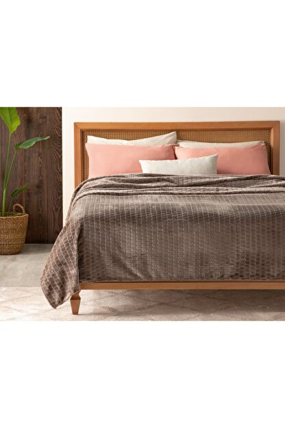 English Home Delicate Super Soft Çift Kişilik Battaniye 200x220 Cm Vizon