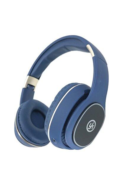 YK Design Rgb Led Işıklı Bluetooth Stereo Kablosuz Kulaklık Mavi  Sd Kart