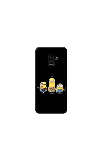 Kılıf Madeni Samsung Galaxy A8 2018 Minyonlar Siyah Koleksiyon Telefon Kılıfı