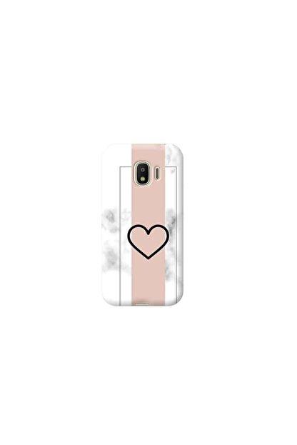 Kılıf Madeni Samsung Galaxy J2 Core Kalp Tasarımlı Mermer Telefon Kılıfı