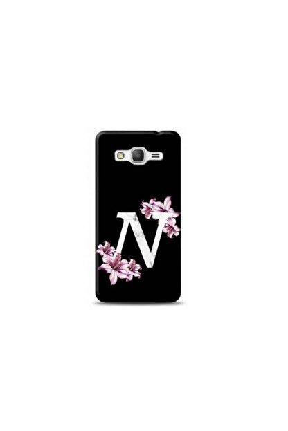 Kılıf Madeni Samsung Grand Prime Plus N Harfli Mor Çiçekli Tasarımlı Telefon Kılıfı Y-morcn