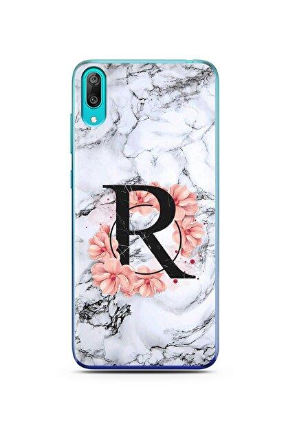 Spoyi Mermer Çiçekli Harf Tasarım Süper Şeffaf Silikon Telefon Kılıfı Huawei Y7 Prime 2019 R-harfi