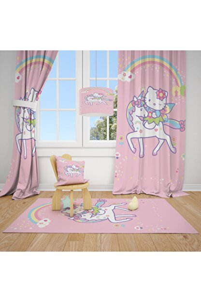 CİCİ TASARIM ÜRÜNLERİ Beyaz 2 Kanat Hello Kity Çiçek Çocuk Bebek Odası Fon Perde