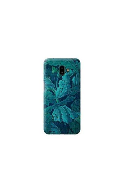 Kılıf Madeni Samsung Galaxy J6 Plus Mavi Gül Tasarımlı Telefon Kılıfı