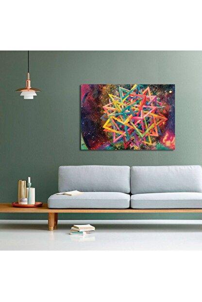 CANVASUM Yıldız Çok Renkli Soyut Kanvas Tablo Duvar Tablosu 90x60