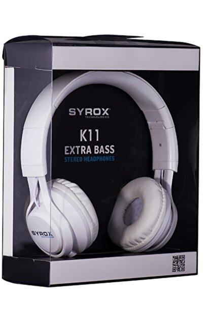 Syrox J-50 K11 Beyaz Kulaküstü Mikrofonlu Aux Kablolu Kulaklık