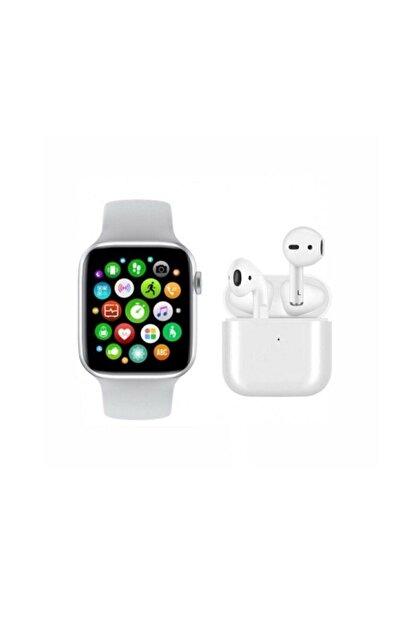 RPM BİLİŞİM Saat Smart Watch + Airpods I12 Tws  Uyumlu Kablosuz Kulaklık Beyaz İkili Kombin