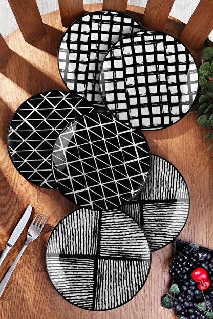 Kitchen Life 6'lı Özel Tasarım Handmade 21cm Pasta Tabak Seti - Black