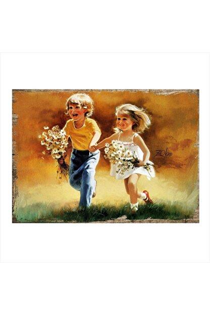 Tablomega Kırlarda Koşan Çocuklar Hediyelik Ahşap Tablo 35cm X 50cm