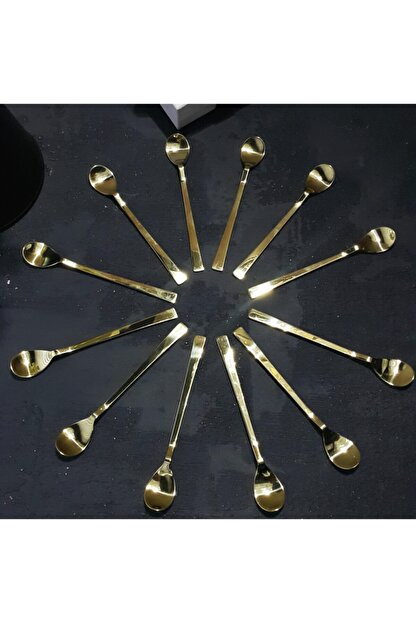MADAM İZMİR Altın Rengi 12 Parça Paslanmaz Çelik Çay Kaşığı