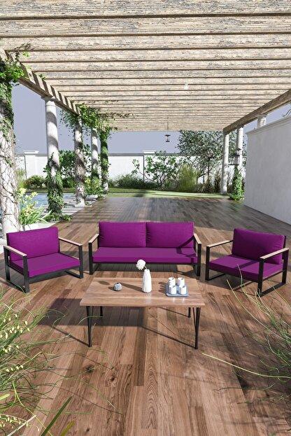 Evdemo Kobalt Bahçe Balkon Oturma Takımı Sehpalı 2+1+1 Mürdüm
