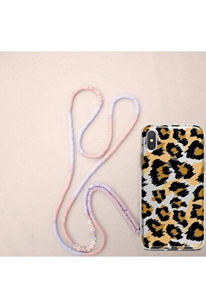 Zoei Iphone Xs Max Boncuk Askılı Vibration Leopar Tasarımlı Stay With Me İpli Kılıf