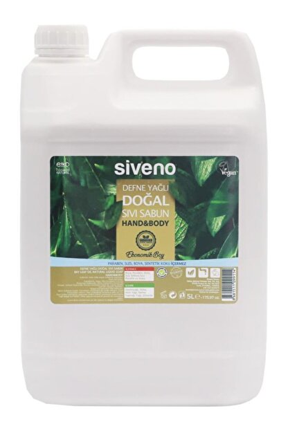 Siveno Defne Yağlı Doğal Sıvı Sabun 5 Lt