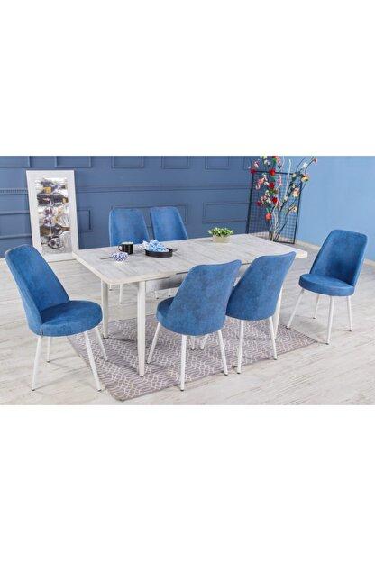 Stoker Lora Premıum Yemek Masa Takımı 6 Sandalyeli (mavi)